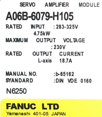 New Refurbished Exchange Repair  Fanuc Drives-AC Servo A06B-6079-H105 Precision Zone