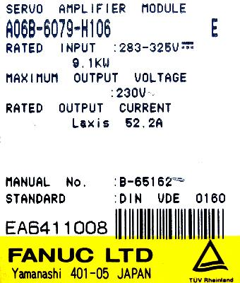 New Refurbished Exchange Repair  Fanuc Drives-AC Servo A06B-6079-H106 Precision Zone