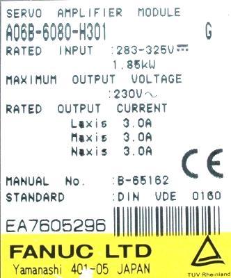 New Refurbished Exchange Repair  Fanuc Drives-AC Servo A06B-6080-H301 Precision Zone
