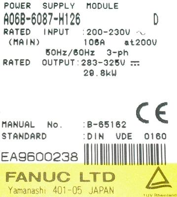 New Refurbished Exchange Repair  Fanuc Part of machine A06B-6087-H126 Precision Zone