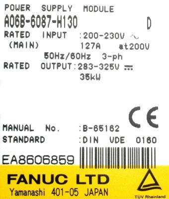 New Refurbished Exchange Repair  Fanuc Part of machine A06B-6087-H130 Precision Zone