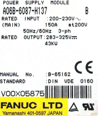 New Refurbished Exchange Repair  Fanuc Part of machine A06B-6087-H137 Precision Zone