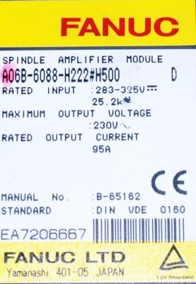 New Refurbished Exchange Repair  Fanuc Drives-AC Spindle A06B-6088-H222-H500 Precision Zone
