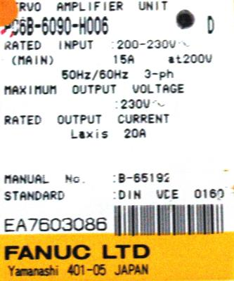 New Refurbished Exchange Repair  Fanuc Drives-AC Servo A06B-6090-H006 Precision Zone