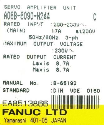 New Refurbished Exchange Repair  Fanuc Drives-AC Servo A06B-6090-H244 Precision Zone