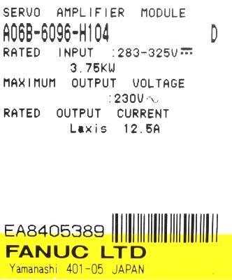 New Refurbished Exchange Repair  Fanuc Drives-AC Servo A06B-6096-H104 Precision Zone
