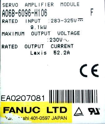 New Refurbished Exchange Repair  Fanuc Drives-AC Servo A06B-6096-H106 Precision Zone