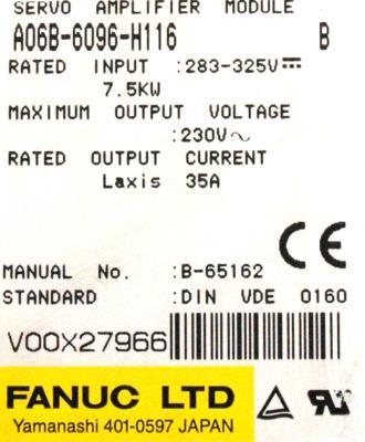 New Refurbished Exchange Repair  Fanuc Drives-AC Servo A06B-6096-H116 Precision Zone