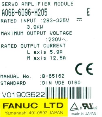 New Refurbished Exchange Repair  Fanuc Drives-AC Servo A06B-6096-H205 Precision Zone