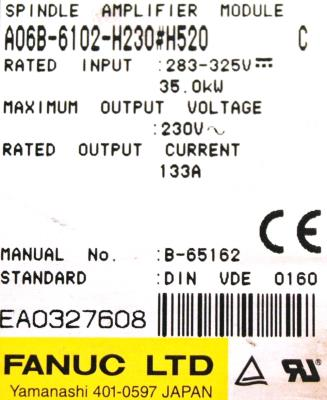 New Refurbished Exchange Repair  Fanuc Drives-AC Spindle A06B-6102-H230-H520 Precision Zone