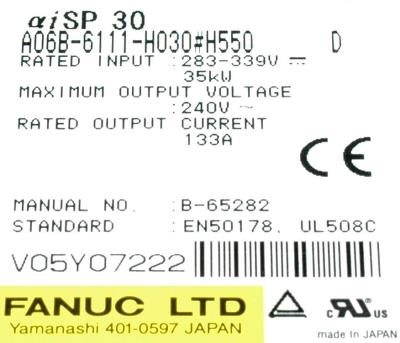 New Refurbished Exchange Repair  Fanuc Drives-AC Spindle A06B-6111-H030-H550 Precision Zone