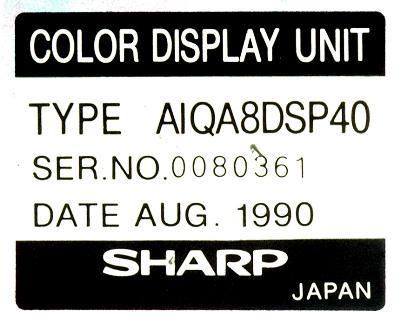 New Refurbished Exchange Repair  Sharp CRT AIQA8DSP40 Precision Zone
