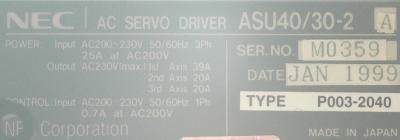 New Refurbished Exchange Repair  NEC Drives-AC Servo ASU40-30-2A Precision Zone