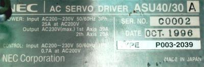 New Refurbished Exchange Repair  NEC Drives-AC Servo ASU40-30A Precision Zone