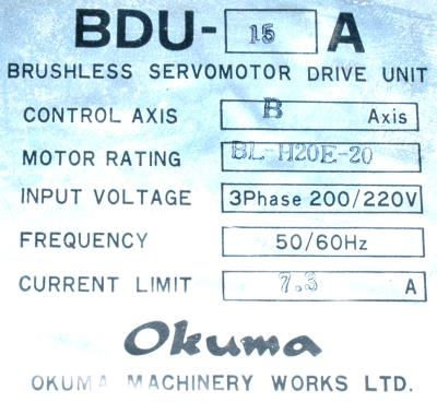 New Refurbished Exchange Repair  Okuma Drives-AC Servo BDU-15A Precision Zone