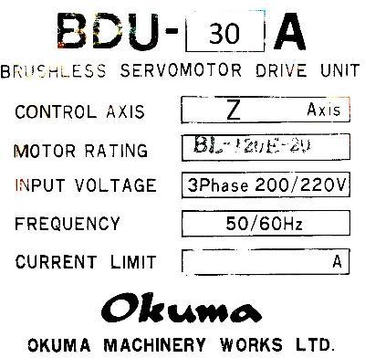 New Refurbished Exchange Repair  Okuma Drives-AC Servo BDU-30A Precision Zone