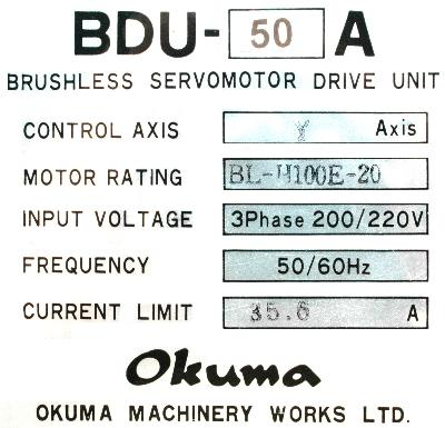 New Refurbished Exchange Repair  Okuma Drives-AC Servo BDU-50A Precision Zone