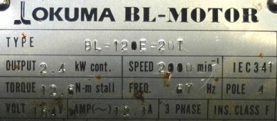 New Refurbished Exchange Repair  Okuma Motors-AC Servo BL-120E-20T Precision Zone