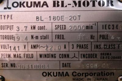 New Refurbished Exchange Repair  Okuma Motors-AC Servo BL-180E-20T Precision Zone