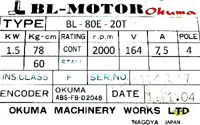 New Refurbished Exchange Repair  Okuma Motors-AC Servo BL-80E-20T Precision Zone