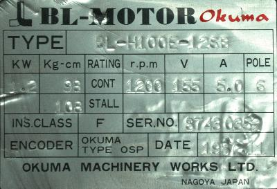 New Refurbished Exchange Repair  Okuma Motors-AC Servo BL-H100E-12SB Precision Zone