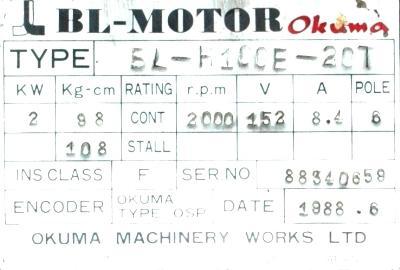 New Refurbished Exchange Repair  Okuma Motors-AC Servo BL-H100E-20T Precision Zone