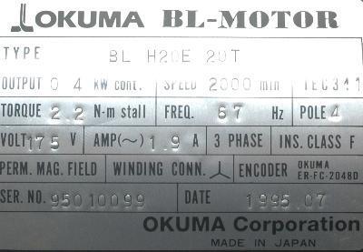 New Refurbished Exchange Repair  Okuma Motors-AC Servo BL-H20E-20T Precision Zone