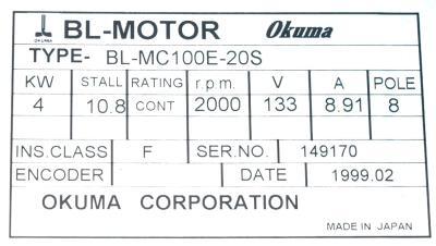 New Refurbished Exchange Repair  Okuma Motors-AC Servo BL-MC100E-20S Precision Zone