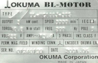 New Refurbished Exchange Repair  Okuma Motors-AC Servo BL-MC100J-30S Precision Zone
