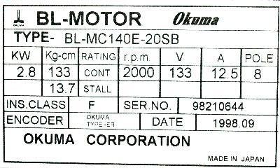 New Refurbished Exchange Repair  Okuma Motors-AC Servo BL-MC140E-20SB Precision Zone
