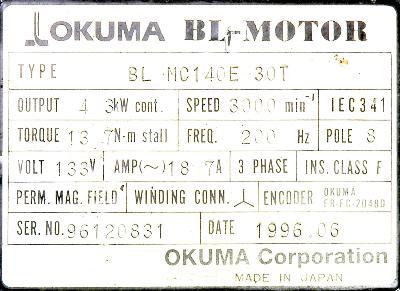 New Refurbished Exchange Repair  Okuma Motors-AC Servo BL-MC140E-30T Precision Zone
