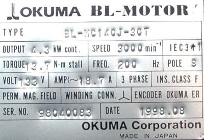 New Refurbished Exchange Repair  Okuma Motors-AC Servo BL-MC140J-30T Precision Zone