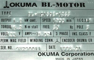 New Refurbished Exchange Repair  Okuma Motors-AC Servo BL-MC150E-12SB Precision Zone