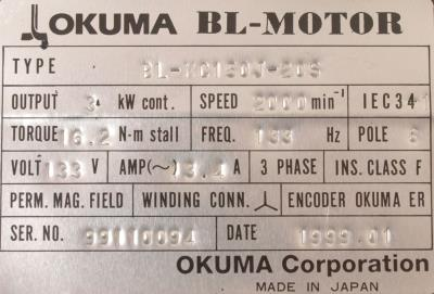 New Refurbished Exchange Repair  Okuma Motors-AC Servo BL-MC150J-20S Precision Zone