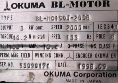 New Refurbished Exchange Repair  Okuma Motors-AC Servo BL-MC150J-20SB Precision Zone