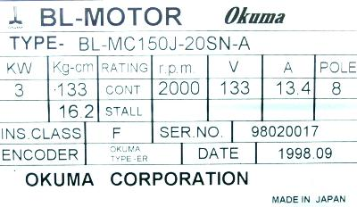 New Refurbished Exchange Repair  Okuma Motors-AC Servo BL-MC150J-20SN-A Precision Zone