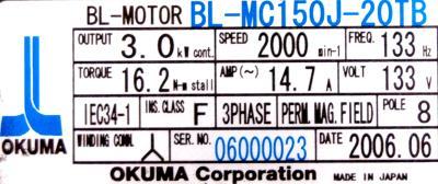 New Refurbished Exchange Repair  Okuma Motors-AC Servo BL-MC150J-20TB Precision Zone