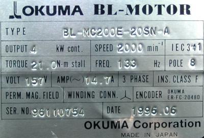 New Refurbished Exchange Repair  Okuma Motors-AC Servo BL-MC200E-20SN-A Precision Zone