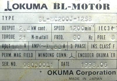 New Refurbished Exchange Repair  Okuma Motors-AC Servo BL-MC200J-12SB Precision Zone