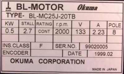 New Refurbished Exchange Repair  Okuma Motors-AC Servo BL-MC25J-20TB Precision Zone