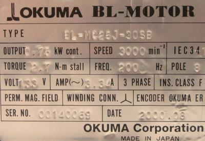 New Refurbished Exchange Repair  Okuma Motors-AC Servo BL-MC25J-30SB Precision Zone