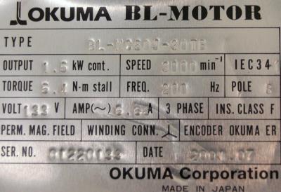 New Refurbished Exchange Repair  Okuma Motors-AC Servo BL-MC50J-30TB Precision Zone