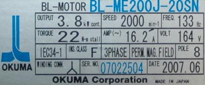 New Refurbished Exchange Repair  Okuma Motors-AC Servo BL-ME200J-20SN Precision Zone