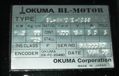 New Refurbished Exchange Repair  Okuma Motors-AC Servo BL-MH101E-12SB Precision Zone