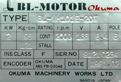 New Refurbished Exchange Repair  Okuma Motors-AC Servo BL-MH101E-20T Precision Zone