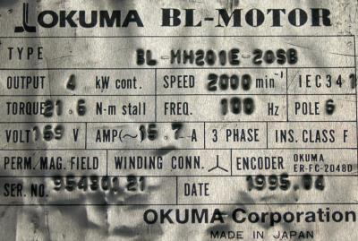 New Refurbished Exchange Repair  Okuma Motors-AC Servo BL-MH201E-20SB Precision Zone