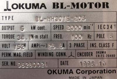 New Refurbished Exchange Repair  Okuma Motors-AC Servo BL-MH301E-20S Precision Zone