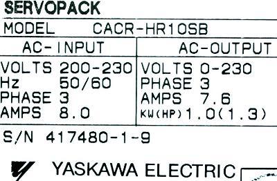 New Refurbished Exchange Repair  Yaskawa Drives-AC Servo CACR-HR10SB Precision Zone