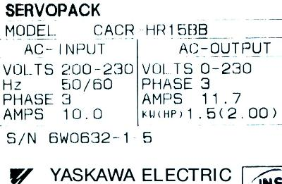 New Refurbished Exchange Repair  Yaskawa Drives-AC Servo CACR-HR15BB Precision Zone