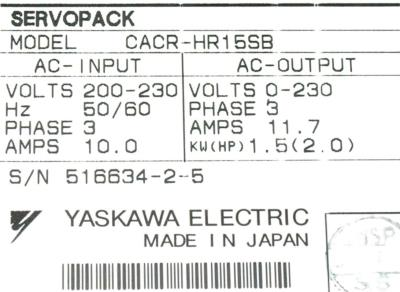 New Refurbished Exchange Repair  Yaskawa Drives-AC Servo CACR-HR15SB Precision Zone